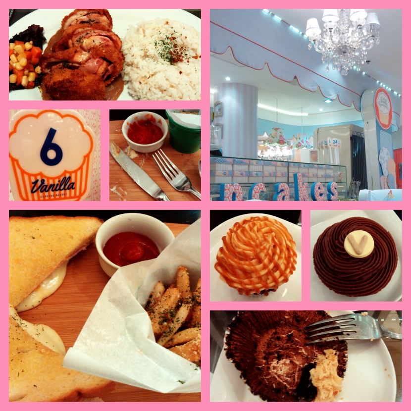 Earlier tonight at the Vanilla Cupcake Bakery... (chicken cordon bleu with rice not mine)
