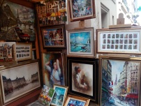 One of the Montmartre's little shops hawking paintings